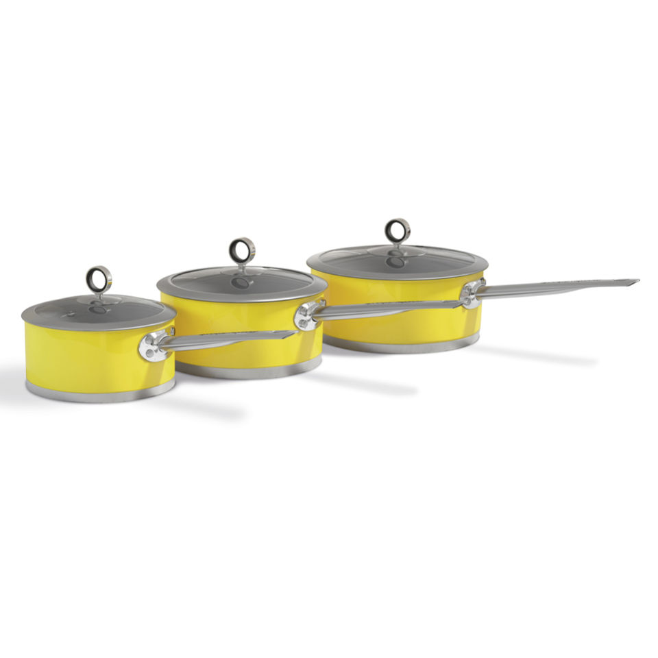 Morphy richards accents 3 piece saucepan set yellow iwoot for Kitchen set yellow