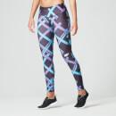Myprotein 运动家系列女子紧身裤 - 黑色蓝格印花