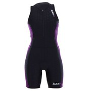 Zone3 Women's Aquaflo Triathlon Suit - Black/Purple