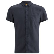 BOSS Orange Men's Ezippo Short Sleeve Linen Shirt - Navy