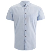 BOSS Orange Men's Erolles Short Sleeve Shirt with Contrast Buttons - Sky Blue
