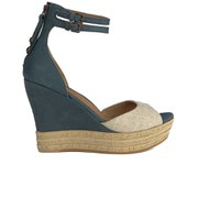 UGG Australia Women's Devan Suede Wedged Sandals - Navy