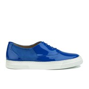 Folk Women's Isa Patent Leather/Suede Plimsoll Trainers - Blue