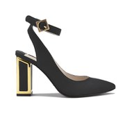Kat Maconie Women's Amelia Leather Block Heel Ankle Strap Court Shoes - Black