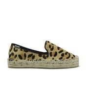 Soludos Women's Platform Espadrille Calf Hair Smoking Slippers - Leopard