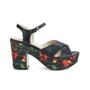 Love Moschino Women's Printed Platform Sandals - Black Multi
