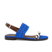 Thakoon Addition Women's Taylor 01 Bubble Snake Suede Two Part Flat Sandals - Pacific Blue