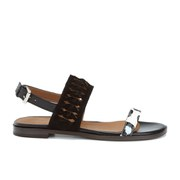 Thakoon Addition Women's Taylor 01 Bubble Snake Suede Two Part Flat Sandals - Black