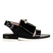 Carven Women's Two Strap Patent Leather Flat Sandals - Black