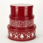 Gisela Graham Scandi Cake Tin - Red/White (Set of 3)
