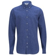 J.Lindeberg Men's Dani Button-Down Linen Stripe Long Sleeve Shirt - Light Blue