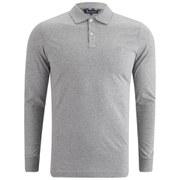 Aquascutum Men's Kendrick LS Jersey Polo Shirt with Under-Collar Check - Grey