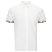 YMC Men's Stripe Cuff Short Sleeve Shirt - White Poplin