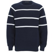 French Connection Men's Engineered Striped Ottoman Jumper - Navy