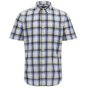 French Connection Men's Steuben Colour Check Short Sleeve Shirt - Blueblood
