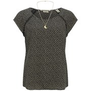 Maison Scotch Women's Silky Feel Printed Top - Black/Cream