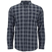 Jack & Jones Men's Long Sleeved Time Shirt - Dress Blue Check