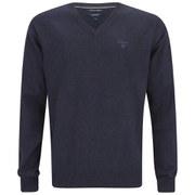 GANT Men's Cotton V-Neck Knitted Jumper - Dark Blue