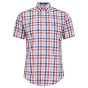 GANT Men's Malibu Heather Poplin Check Short Sleeve Shirt - Red