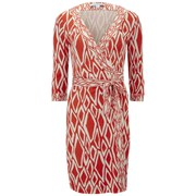 Diane von Furstenberg Women's Banded Julien Wrap Ikat Dress - Coral