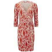 Diane von Furstenberg Women's Banded Julien Wrap Ikat Dress - Coral