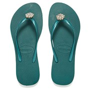 Havaianas Women's Slim Crystal Poem Flip Flops - Green/Blue
