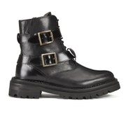 H Shoes by Hudson Women's Kerb Double Buckle Leather Biker Boots - Black