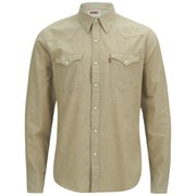 Levi's Men's Slim Fit Long Sleeve Barstow Western Shirt - Chambray Tan