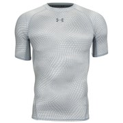 Under Armour Men's Armour Heat Gear Printed Short Sleeve Training T-Shirt - Grey/White
