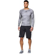 Under Armour Men's Armour Heat Gear Long Sleeve Compression Printed Training Top - White/Graphite
