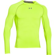 Under Armour Men's Armour Heat Gear Long Sleeve Compression Training Top - Yellow/Graphite