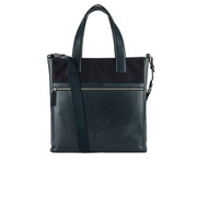 DKNY Men's Waxed Canvas and Leather Tote with Embossed Logo - Dress Blue