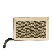 French Connection Women's Clara Box Clutch Bag - Black/White Aztec