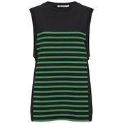 T by Alexander Wang Women's Stripe GelPrint Stiff Cotton Tank Top - Black