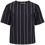 T By Alexander Wang Women's Striped Denim Short Sleeve Top - Dark Indigo