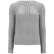 T by Alexander Wang Women's Circular Hole Jacquard Jersey Long Sleeved T-Shirt - Heather Grey