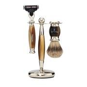 Truefitt & Hill Edwardian Badger MachIII Razor, Brush and Stand Set - Faux Horn