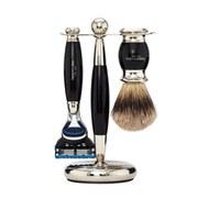 Truefitt & Hill Edwardian Badger Fusion Razor, Brush and Stand Set - Faux Ebony