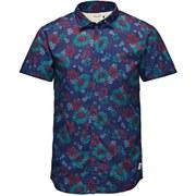 Jack & Jones Originals Men's Short Sleeved Floral Van Shirt - Peacoat