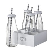 Parlane Milk Bottles with Straws (Set of 4)