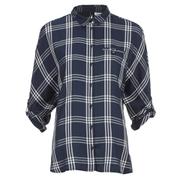 ONLY Women's Suki 3/4 Sleeve Check Shirt - Cloud Dancer Blue