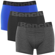 Bench Men's 3-Pack Contrast Waistband Boxers - Blue/Grey/Black