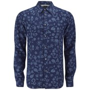 Paul Smith Men's Patterned Long Sleeve Tailored Fit Shirt - Navy