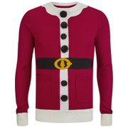 Brave Soul Men's Santa Christmas Jumper - Red/White