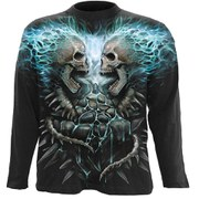 Spiral Men's FLAMING SPINE Long Sleeve T-Shirt - Black