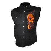 Spiral Men's FIRE DRAGON Sleeveless Stone Washed Worker Shirt - Black