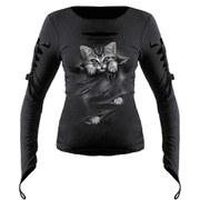 Spiral Women's BRIGHT EYES Slashed Goth Glove Top - Black
