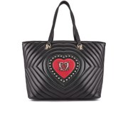 Love Moschino Women's Quilted Heart and Stud Tote Bag - Black