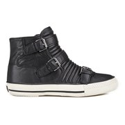 Ash Women's Volt Buckle Ribbed Leather High Top Trainers - Black