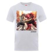 Marvel Avengers Men's Age of Ultron Hulk vs. Hulkbuster Scene T-Shirt - Ash Grey